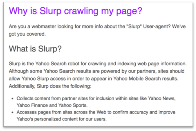 "Learn more about the ""Slurp"" User-agent"