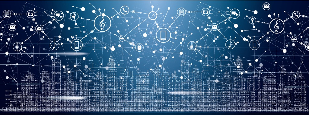 smart-city-with-neon-buildings-networks-and-internet-of-things-icons-vector-id923145768